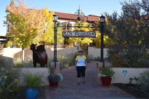 Judy at the Entrance to La Posada Hotel