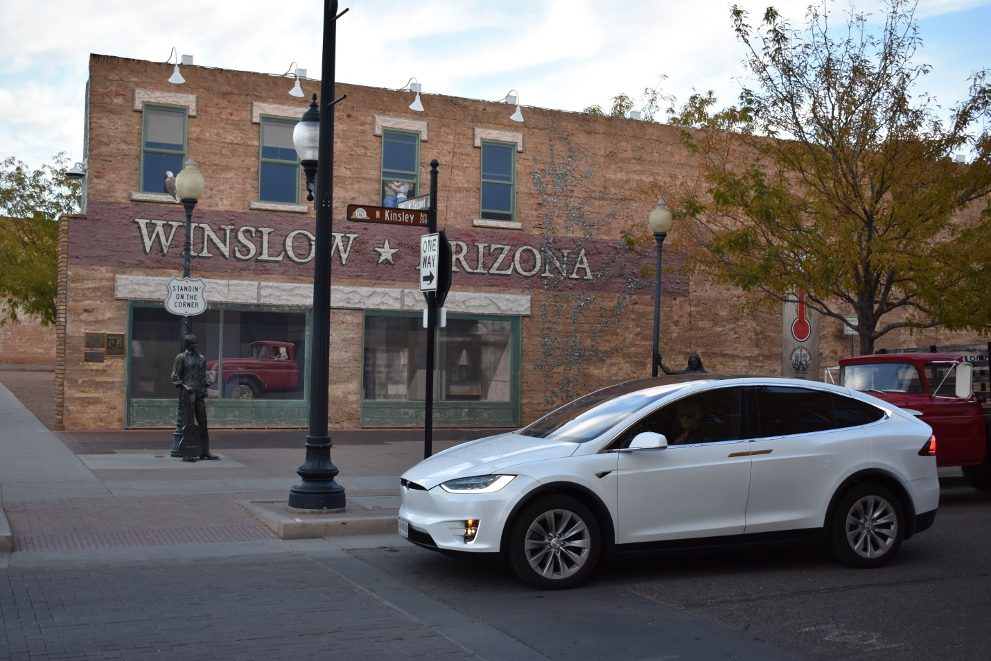 Ellie Standin' on the Corner in Winslow, Arizona