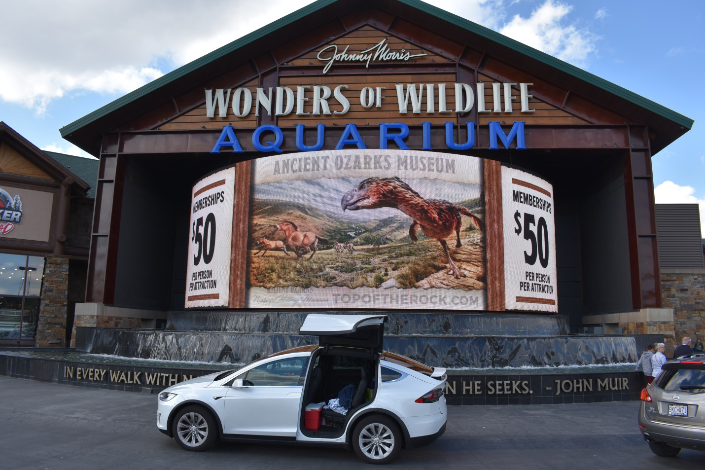 Ellie in front of the Wonders of Wildlife Aquarium at the Bass Pro Shop in Springfield