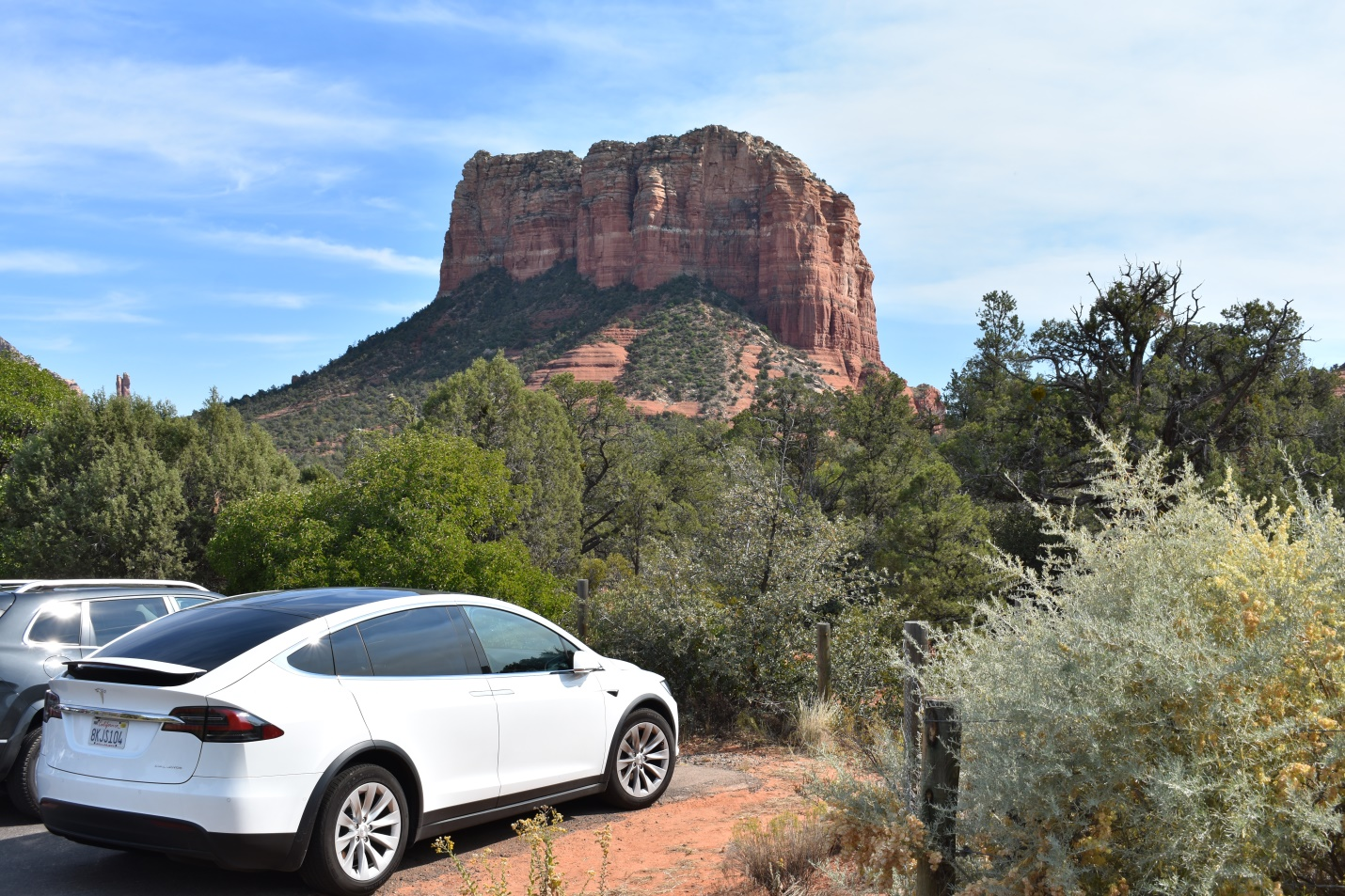 Ellie parked in front of Bell Rock in Sedona, AZ