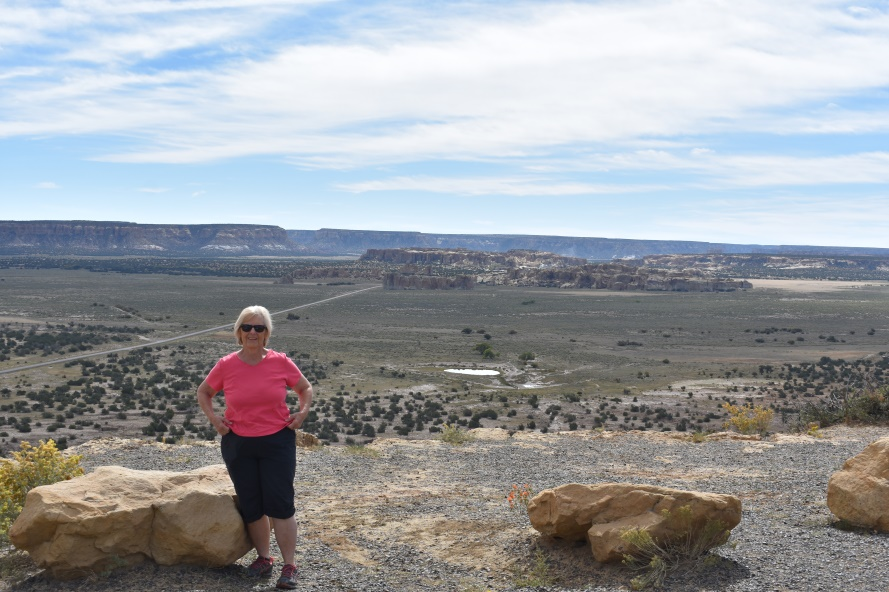 Judy with Sky City and the Acoma Valley in the background